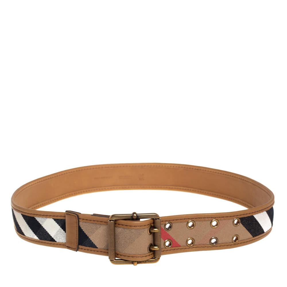 Burberry Beige Nova Check Canvas and Leather Trim Belt 85CM