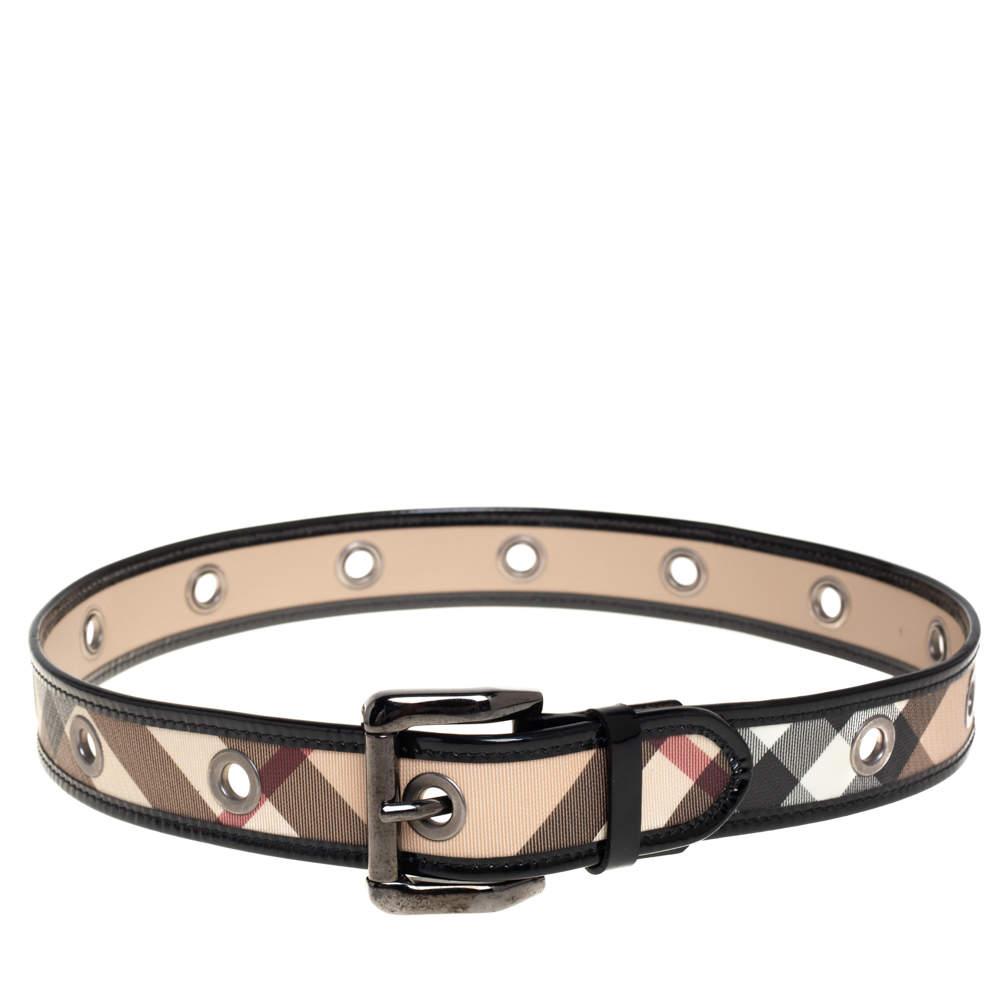 Burberry Black/Beige Nova Check Coated Canvas and Patent Leather Grommet Buckle Belt 80CM