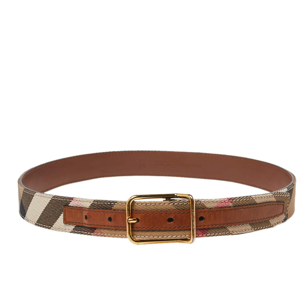Burberry Brown/Beige Nova Check Canvas and Leather Buckle Belt 80CM