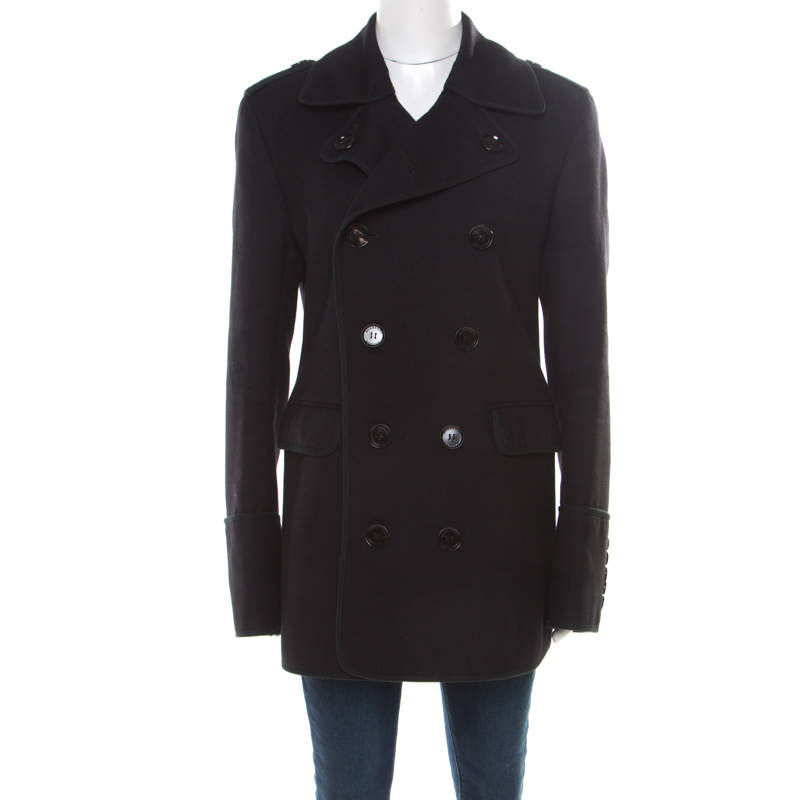 Burberry London Black Wool Double Breasted Coat L