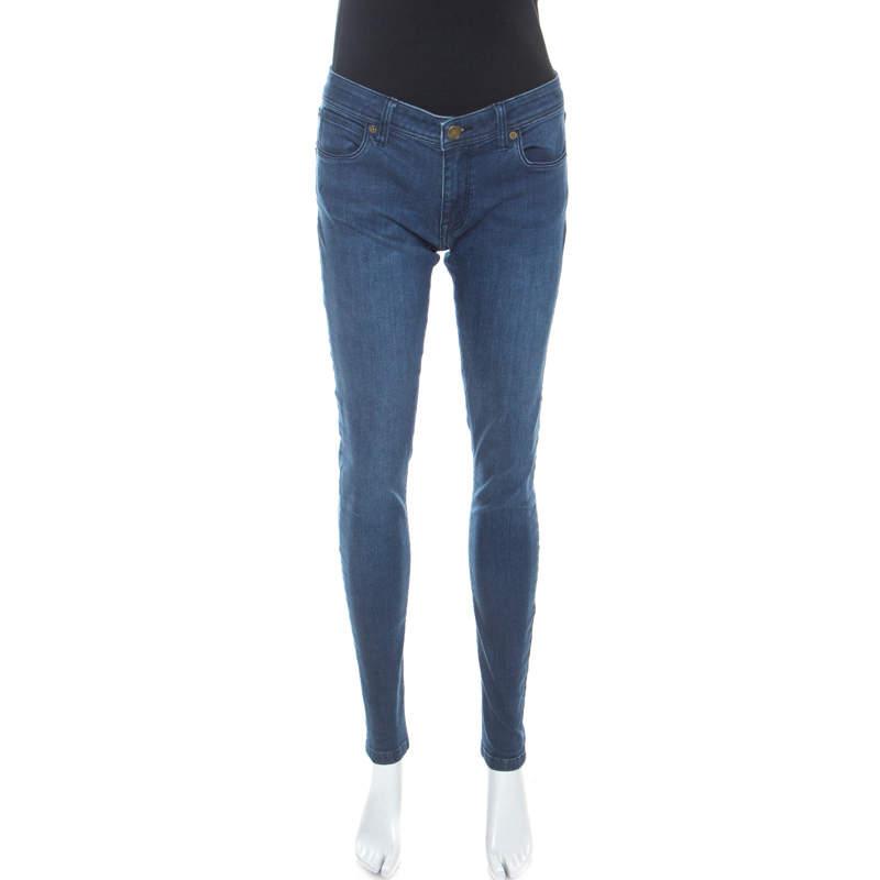 Burberry Brit Indigo Denim Medium Wash Low Rise Skinny Fit Jeans M