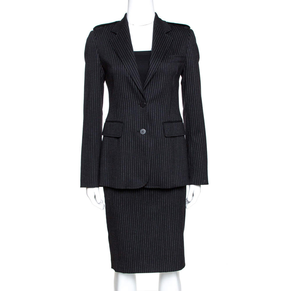 Burberry Black Pinstripe Wool Tailored Skirt Suit S