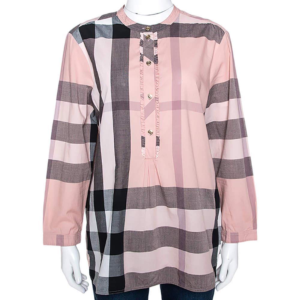 Burberry Pale Pink House Check Print Cotton Half Placket Shirt L