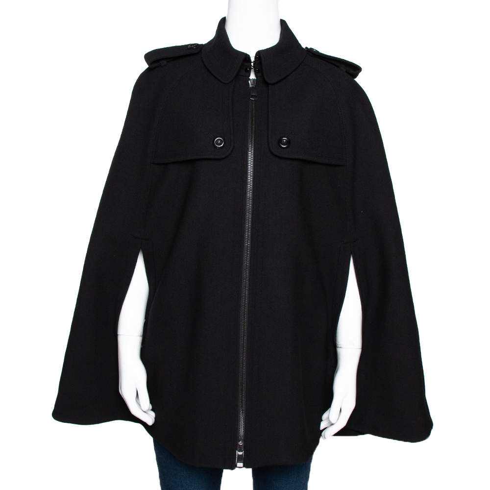 Burberry Black Wool Blend Cape Coat M