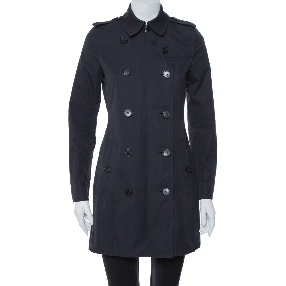 Burberry Midnight Blue Gabardine & Jacquard Lapel Detail Trench Coat S