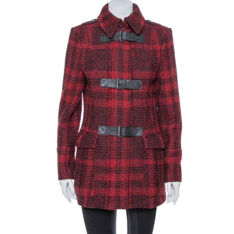 Burberry Brit Red & Black Tweed Buckle Detailed Coat M