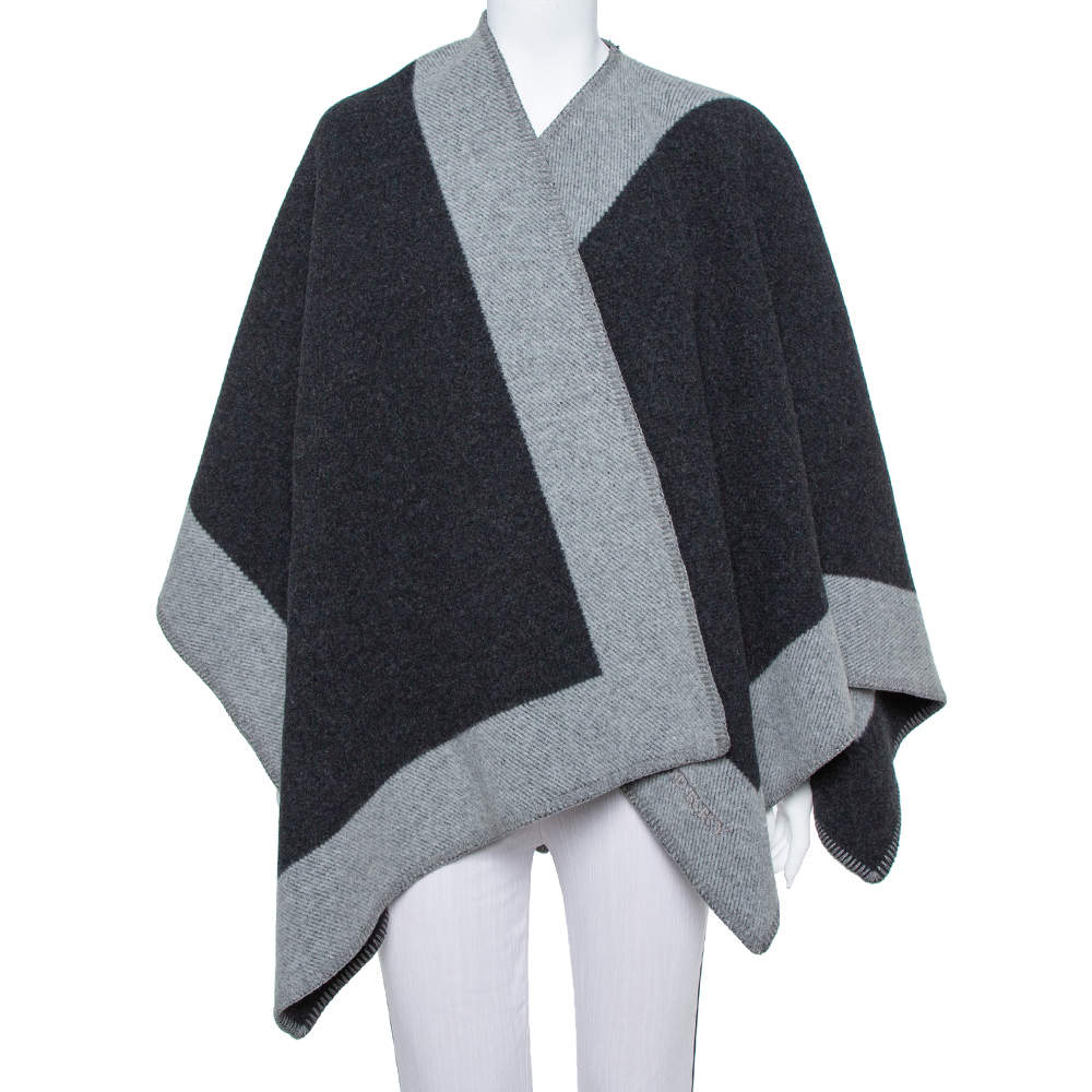 Burberry Black & Grey Wool Poncho (One Size)