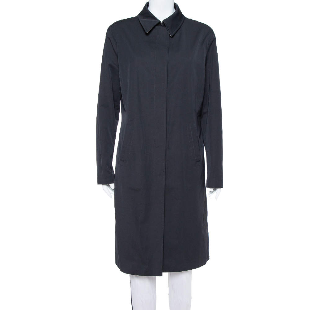 Burberry Black Synthetic Button Front Coat S