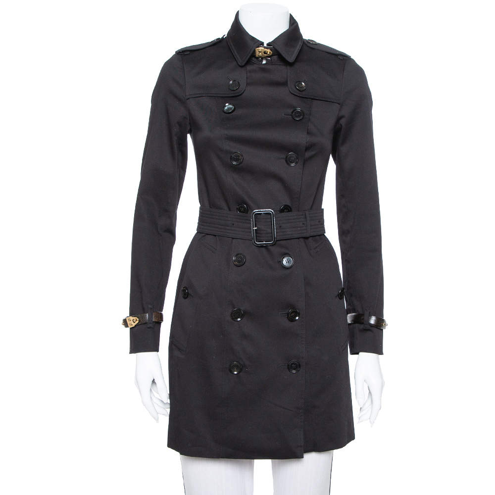 Burberry Black Cotton Paneled Belted Mid Length Coat XS