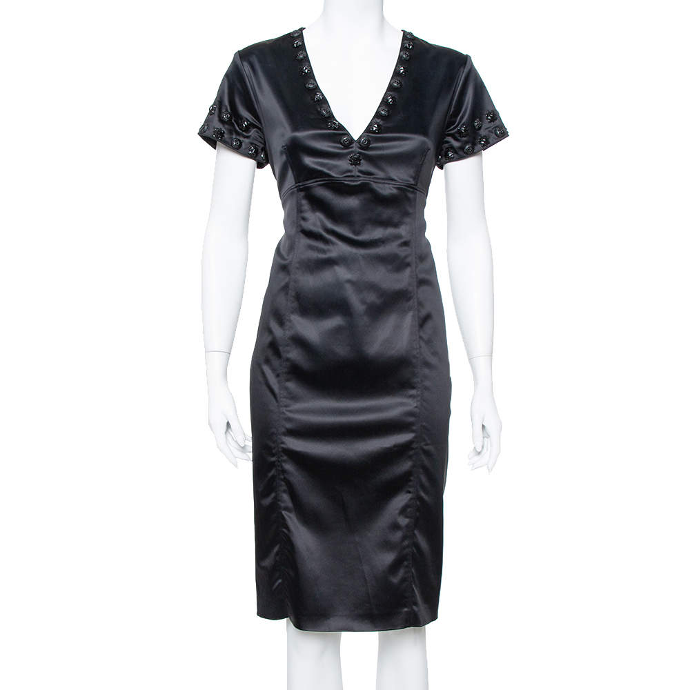Burberry Black Satin Embellished Paneled Short Dress M