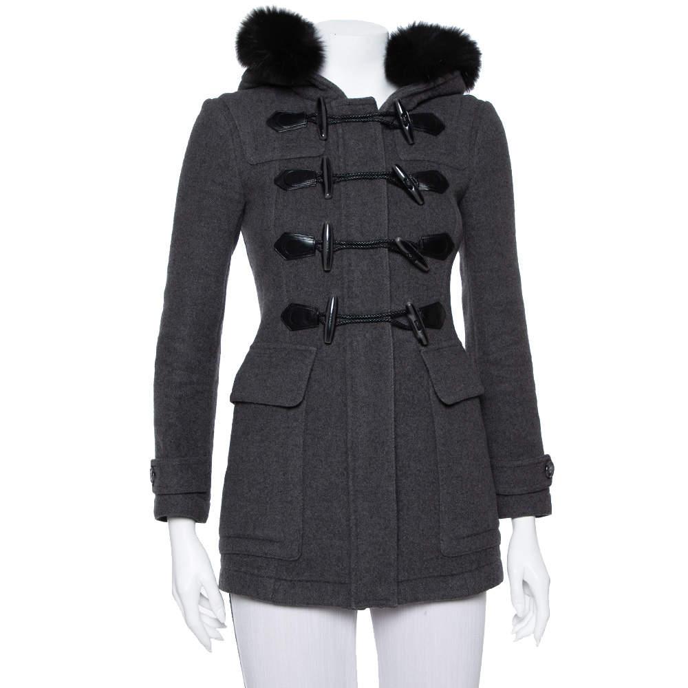 Burberry Brit Grey Wool Fur Trim Detail Hooded Mid Length Coat XS
