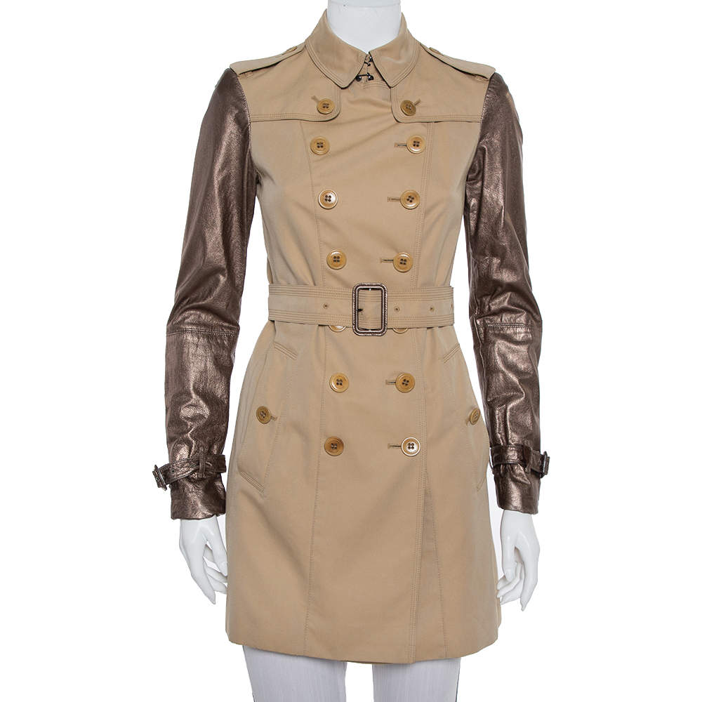 Burberry Beige Cotton Metallic Leather Sleeve Detail Double Breasted Trench Coat S