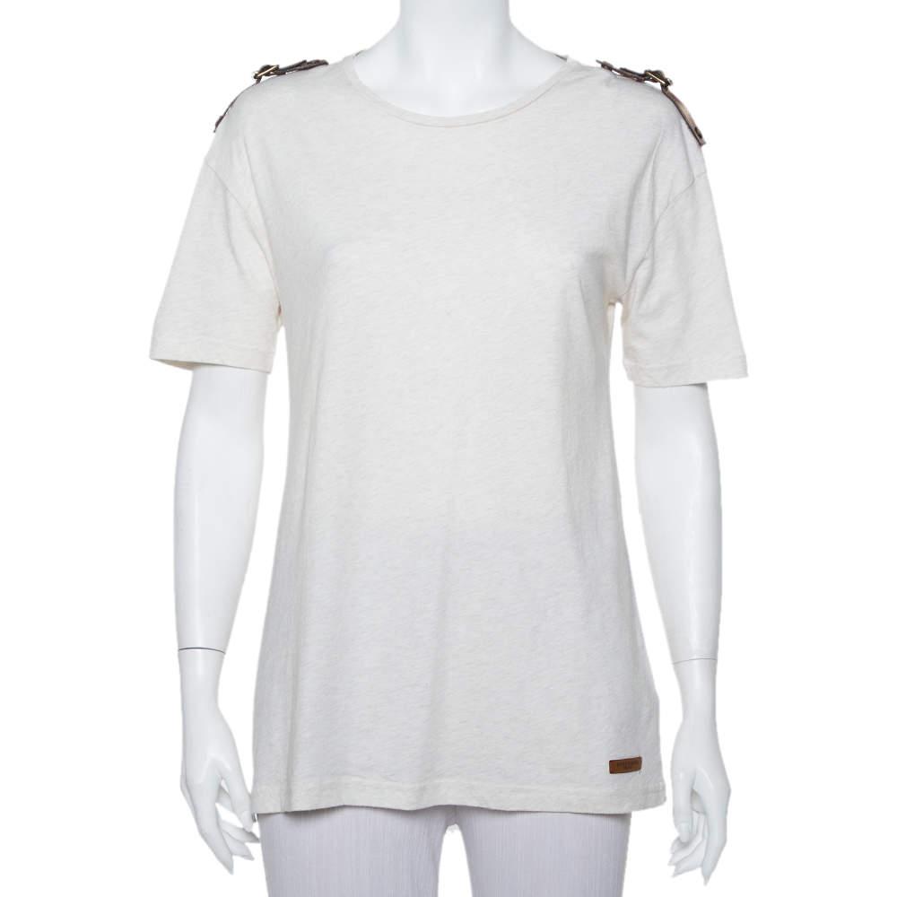 Burberry Brit Cream Knit Leather Belt Detail Short Sleeve T-Shirt S