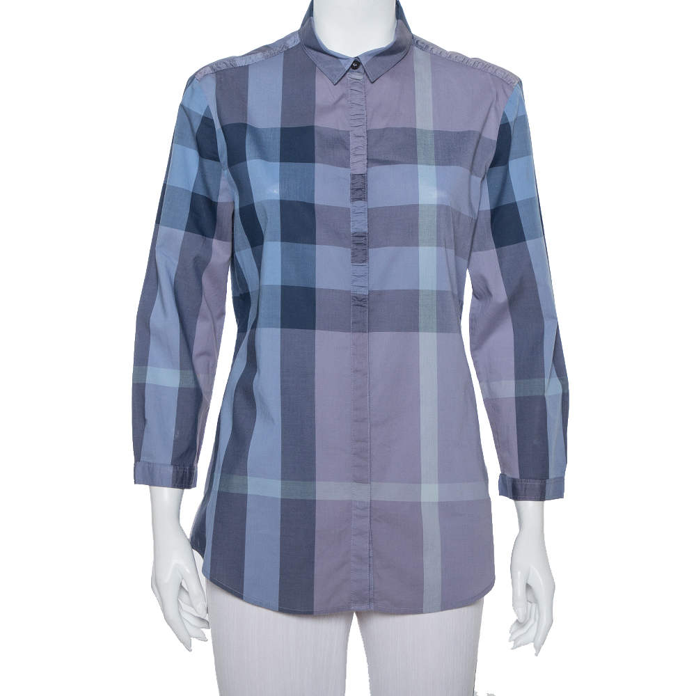 Burberry Brit Blue Plaided Cotton Button Front Shirt L