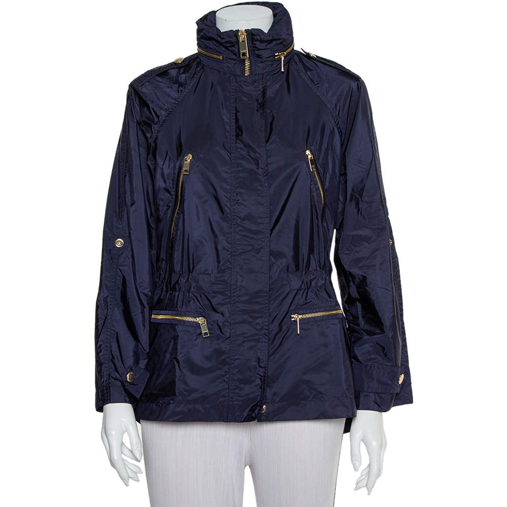 Burberry Brit Navy Blue Synthetic Hooded Tanbridge Parka Jacket XS