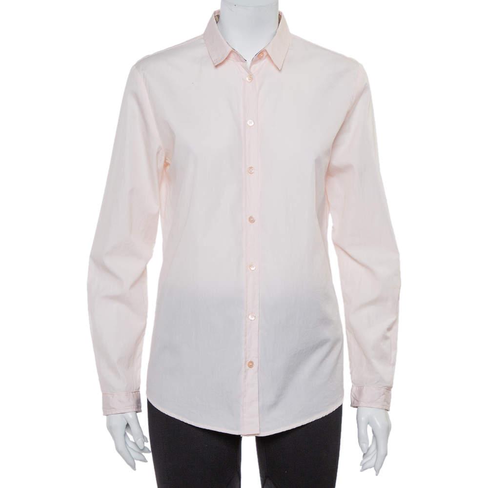 Burberry Brit Pink Cotton Nova Check Trim Detail Button Front Shirt M