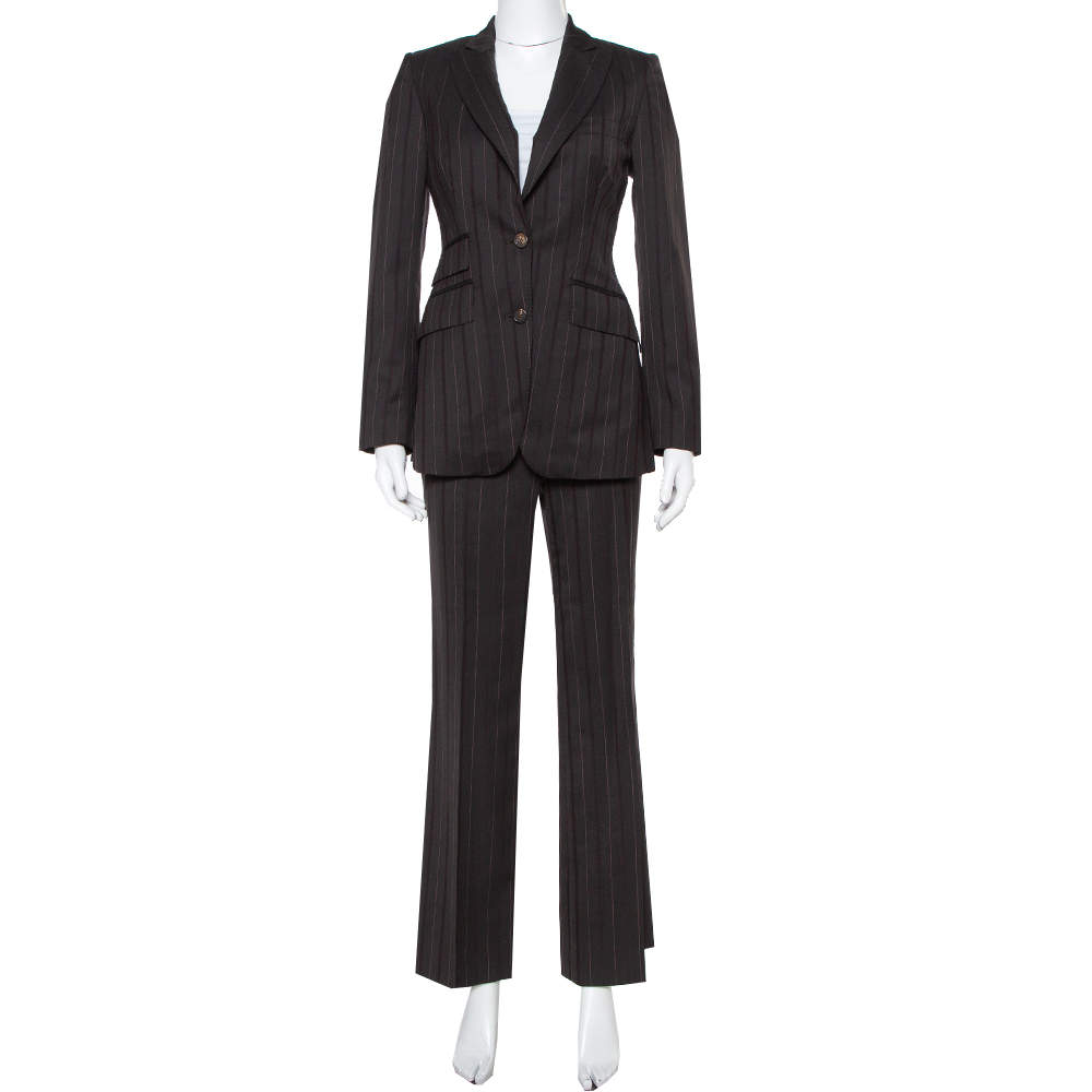 Burberry Prorsum Brown Striped Wool Suit S