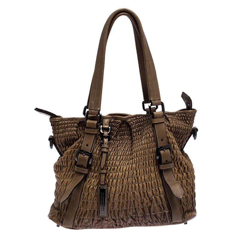 Burberry Brown Pleated Leather Lowry Tote
