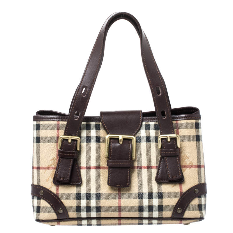 Burberry Beige/Brown Haymarket Check PVC Classic Tote