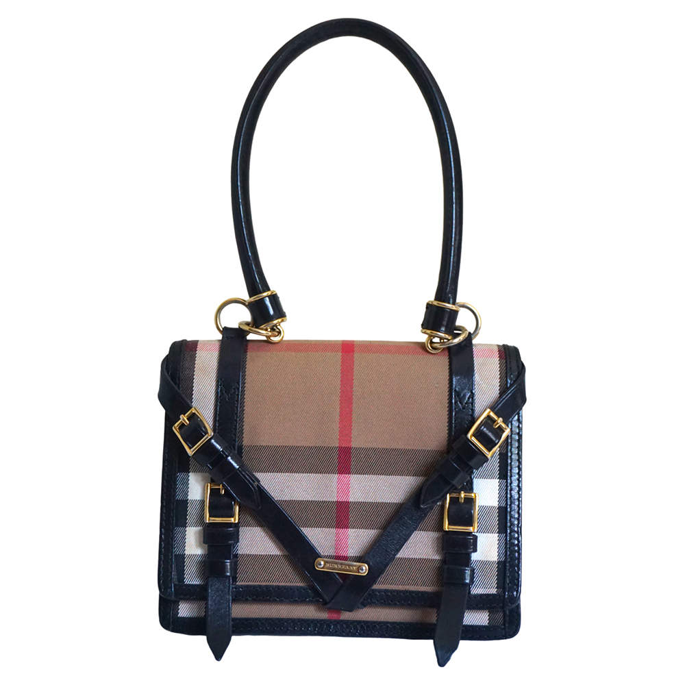 Burberry Brown/Beige House Check Coated Fabric Leather Shoulder Bag