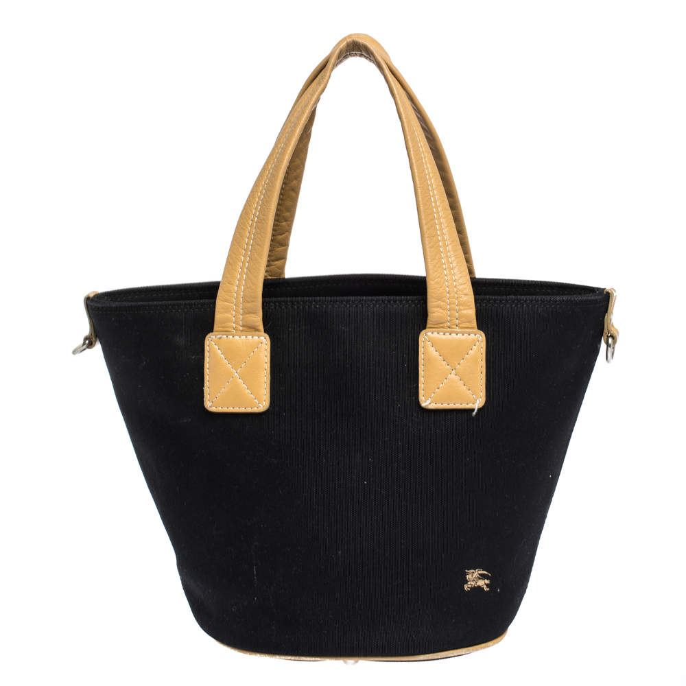 Burberry Blue Label Black Canvas and Leather Tote