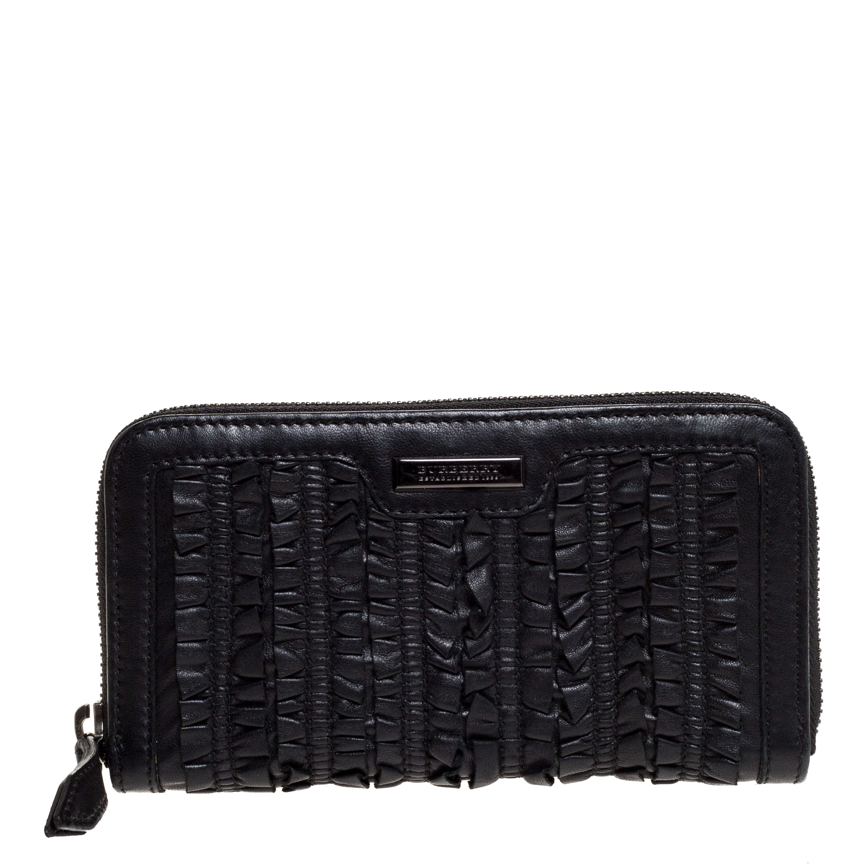 Burberry Black Ruffle Leather Zip Around Wallet