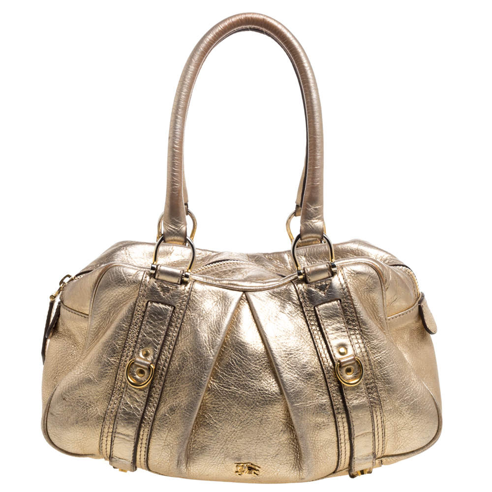 Burberry Metallic Gold Leather Ashbury Knight Satchel