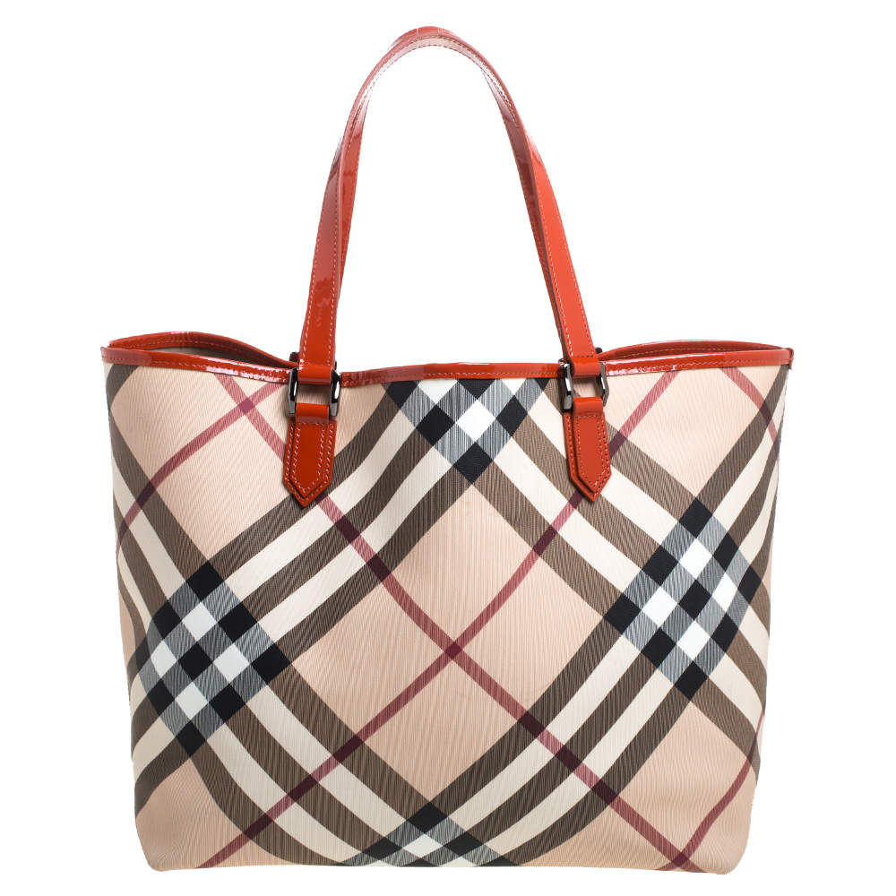Burberry Beige/Orange Supernova Check Coated Canvas and Patent Leather Nickie Tote