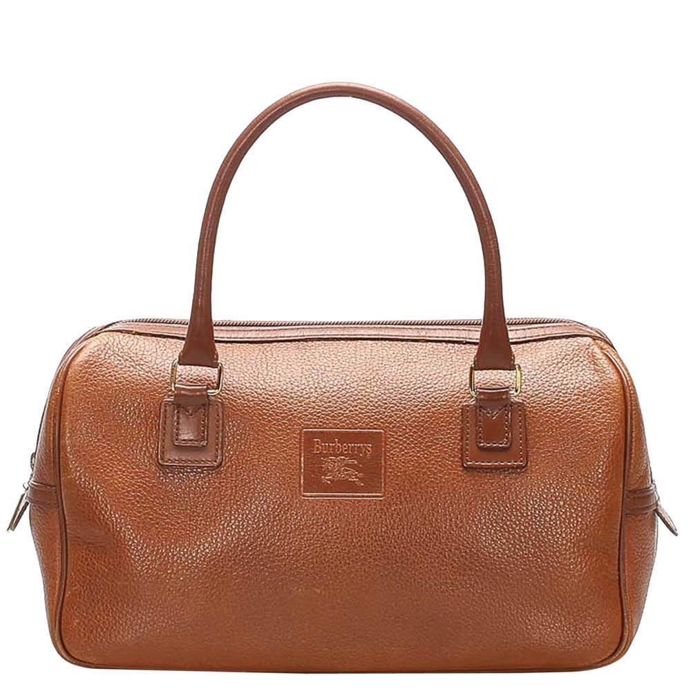 Burberry Brown Leather Boston Bag