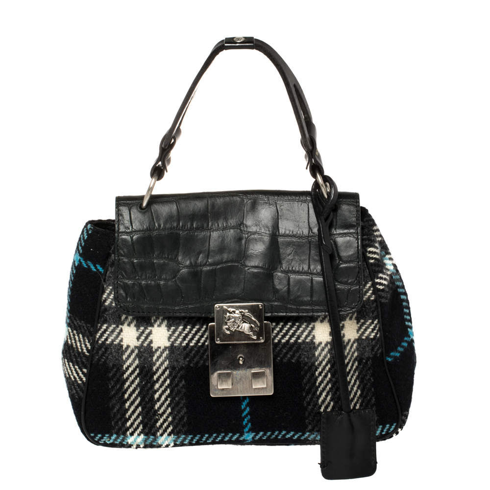 Burberry Black Classic Check Wool and Croc Embossed Leather Vintage Flap Tp Handle Bag