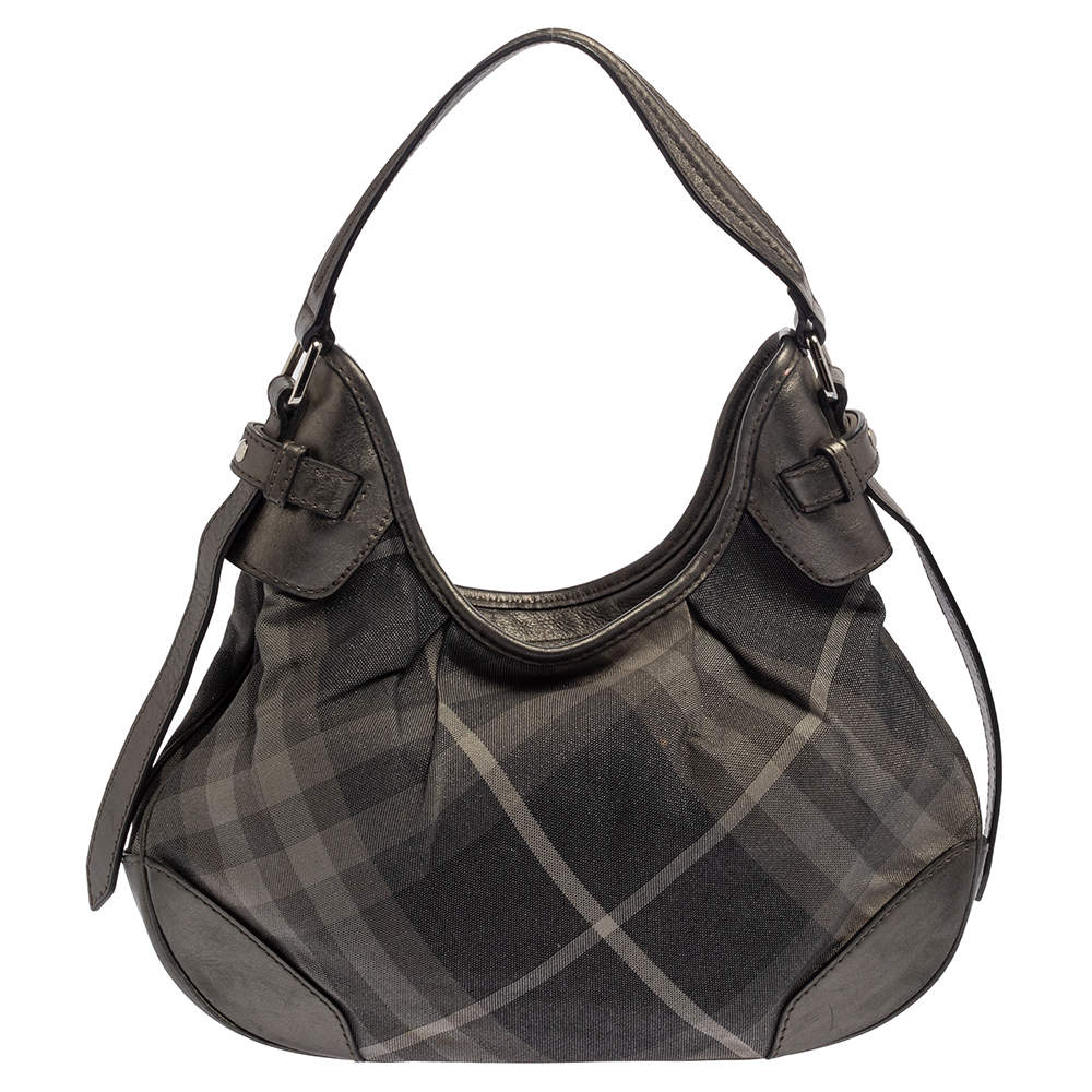 Burberry Grey Beat Check Shimmer Canvas and Leather Small Brooklyn Hobo