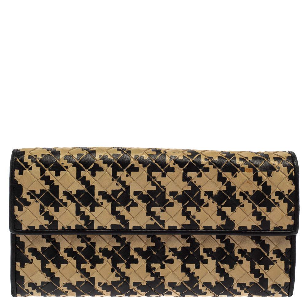Bottega Veneta Beige/Black Houndstooth Intrecciato Leather Continental Flap Wallet