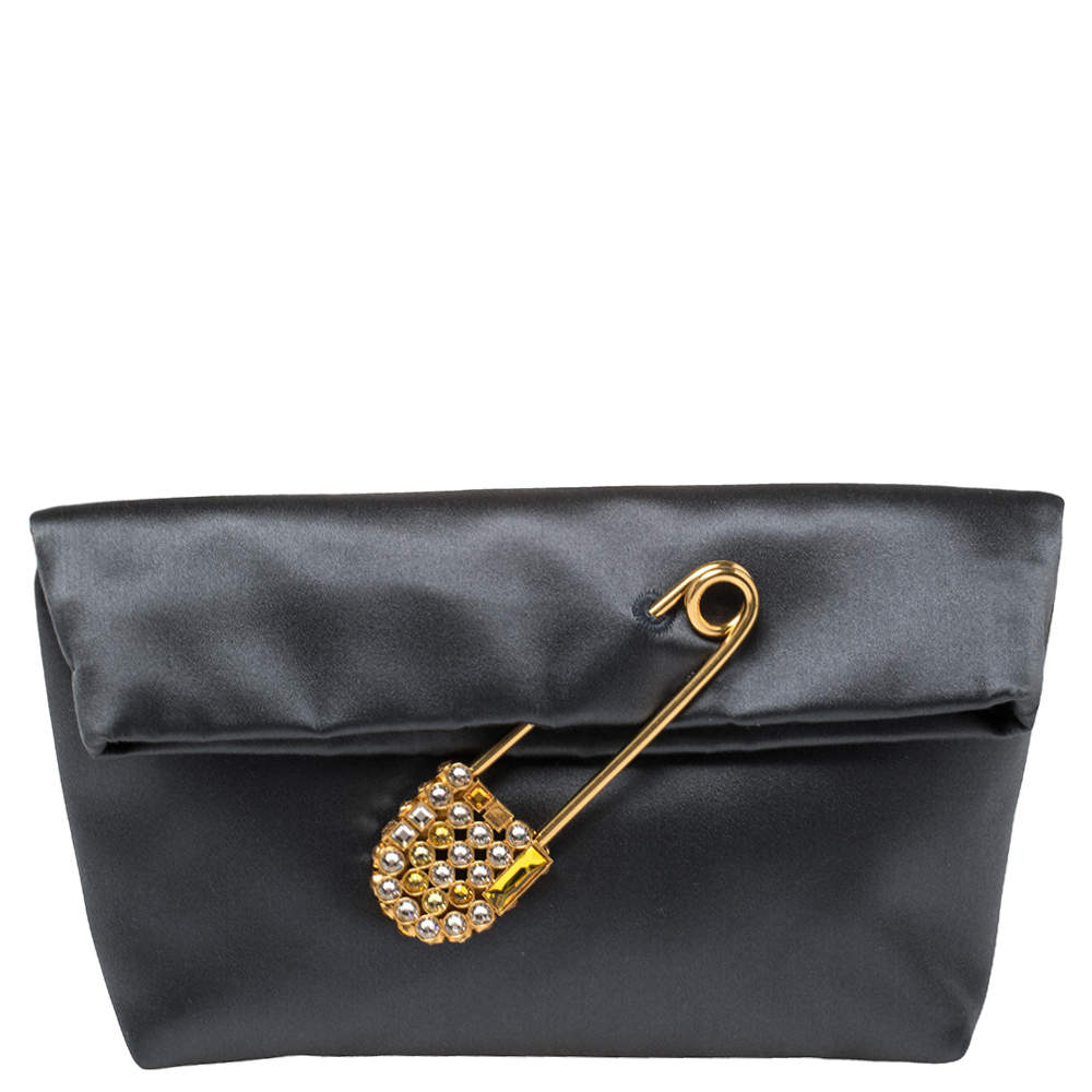Burberry Grey Satin Crystal Embellished Pin Clutch