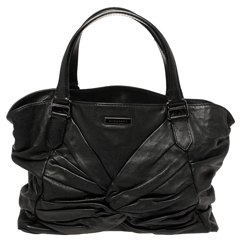 Burberry Black Soft Leather Knot Healy Satchel