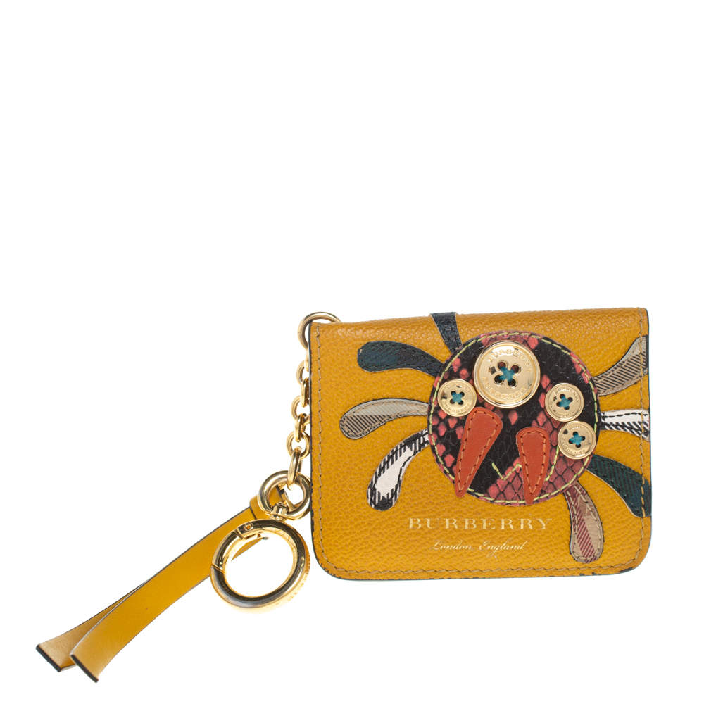 Burberry Mustard Yellow Leather Motif Card Case Bag Charm