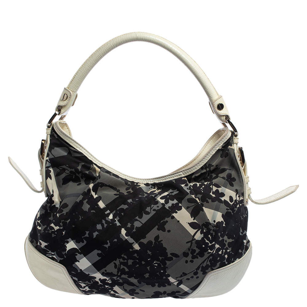 Burberry Black/White Floral Beat Check Nylon and Patent Leather Small Foley Hobo