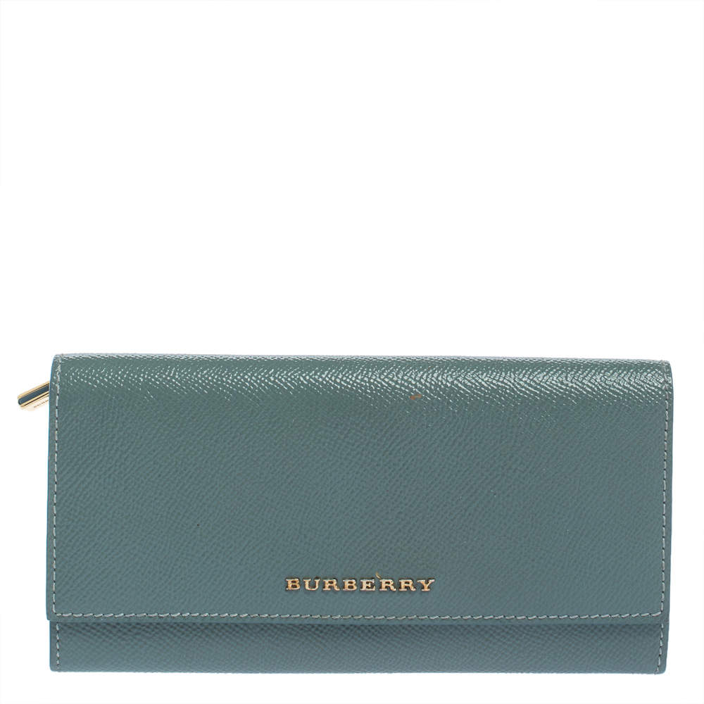 Burberry Light Blue Patent Leather Flap Continental Wallet