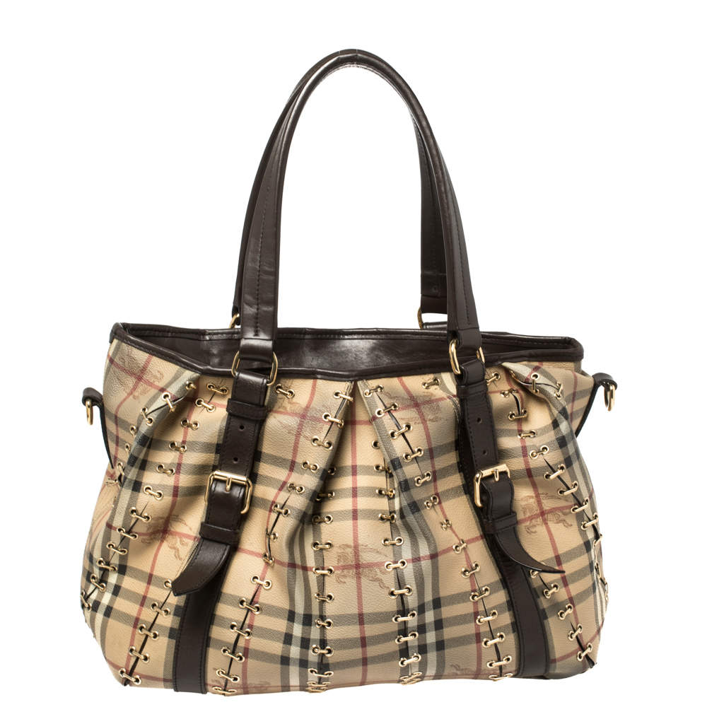 Burberry Beige/Dark Brown Haymarket Check Canvas and Leather Metal Stitch Lowry Tote