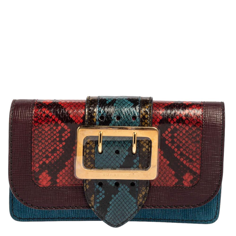 Burberry Multicolor Python and Leather Buckle Flap Shoulder Bag
