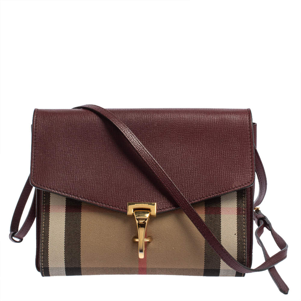 Burberry Burgundy House Check Canvas and Leather Macken Crossbody Bag
