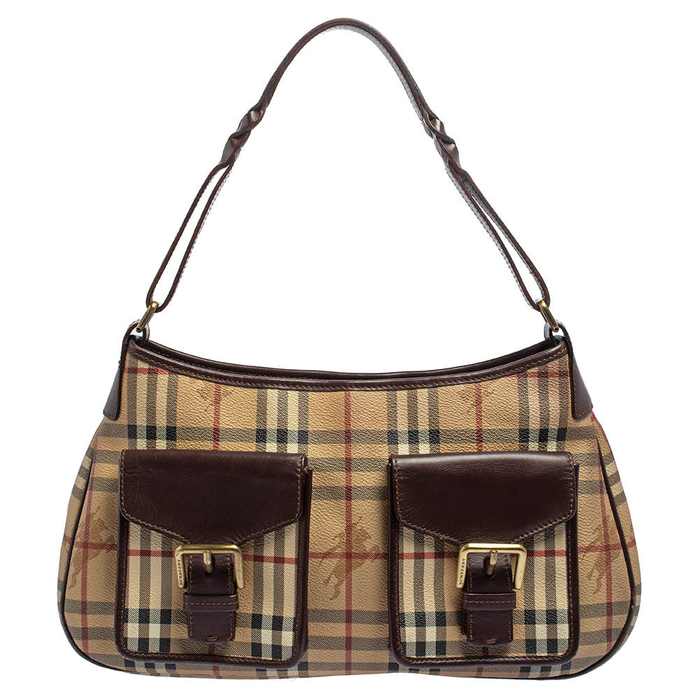 Burberry Beige/Brown Haymarket Check Coated Canvas and Leather Front Pocket Hobo