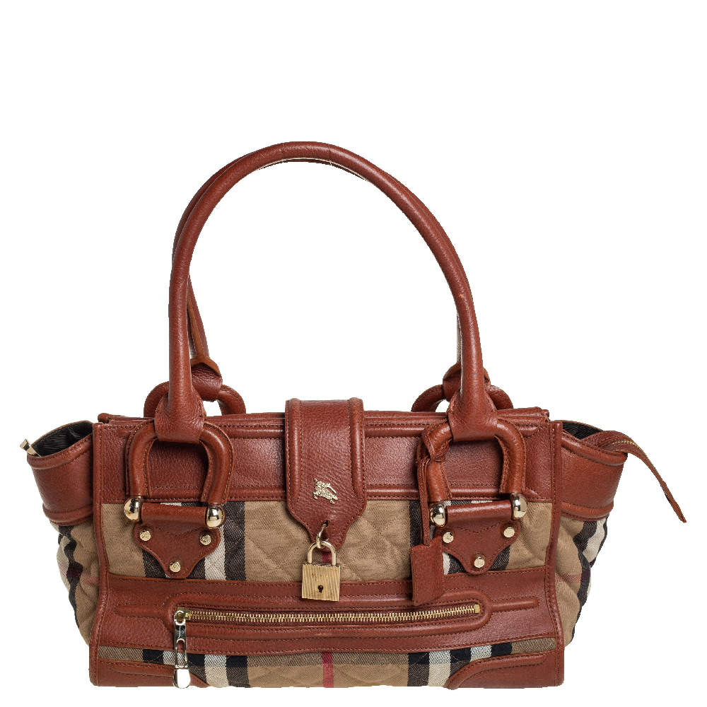 Burberry Beige/Brown Nova Check Canvas And Leather Manor Satchel