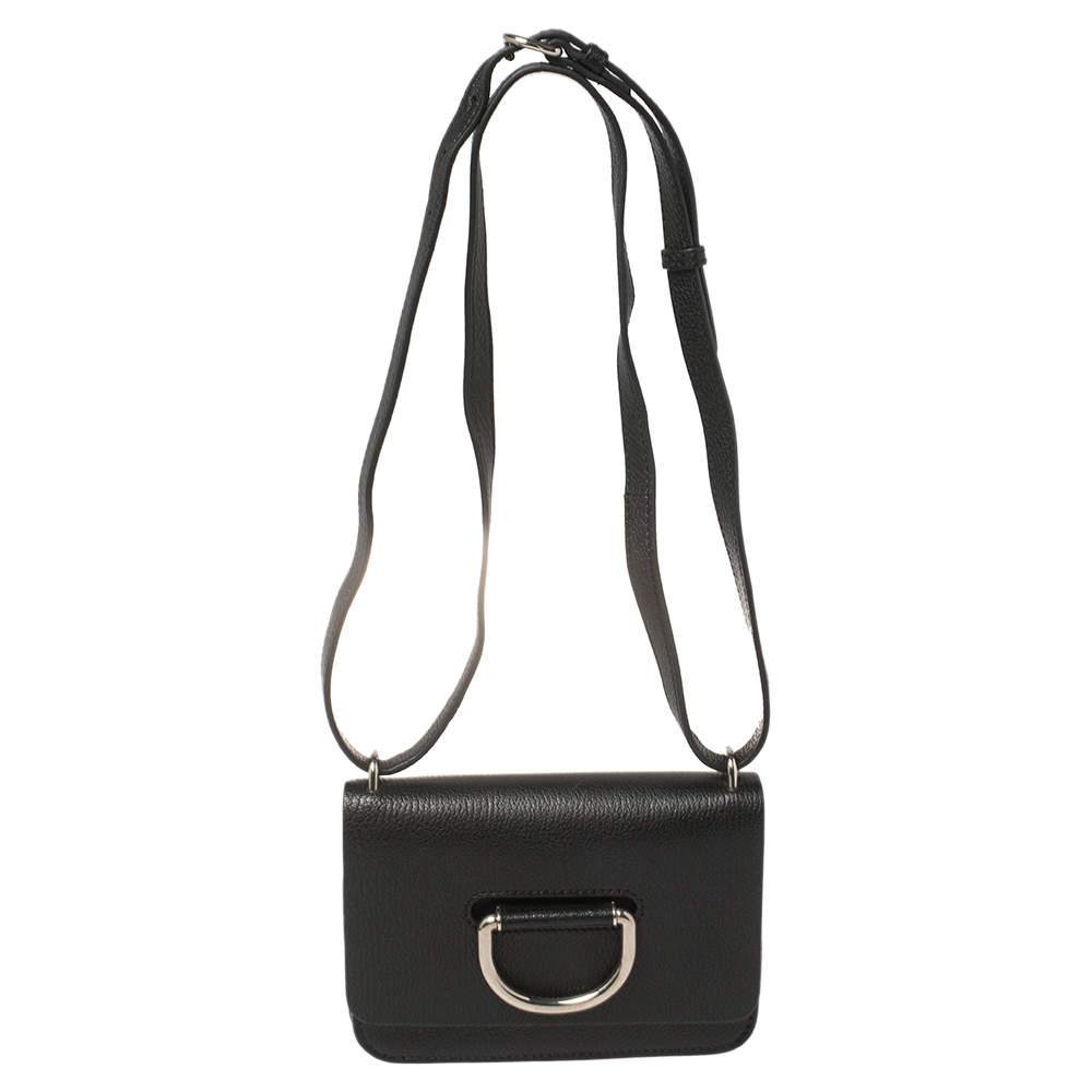 Burberry Black Leather Mini D-Ring Crossbody Bag