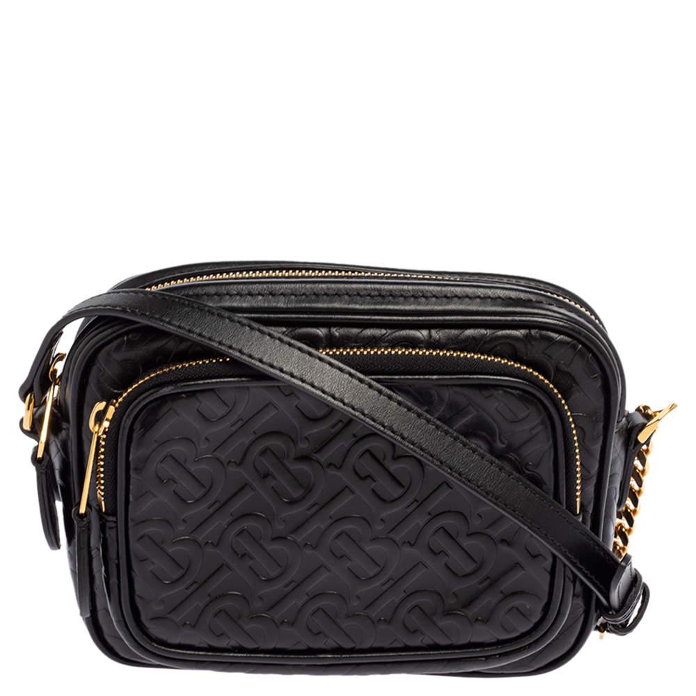 Burberry Black Embossed Monogram Leather Camera Crossbody Bag