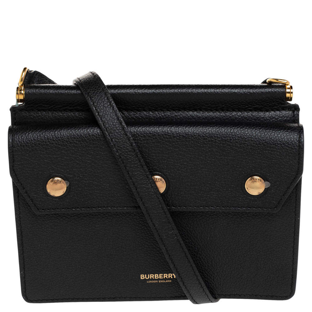 Burberry Black Leather Mini Title Crossbody Bag