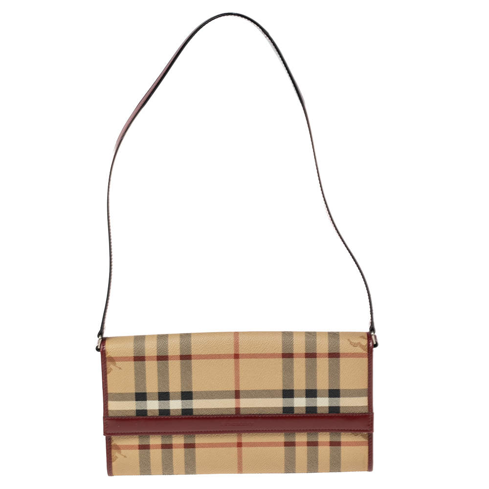 Burberry Beige/Maroon Haymarket Check Coated Canvas and Leather Shoulder Bag