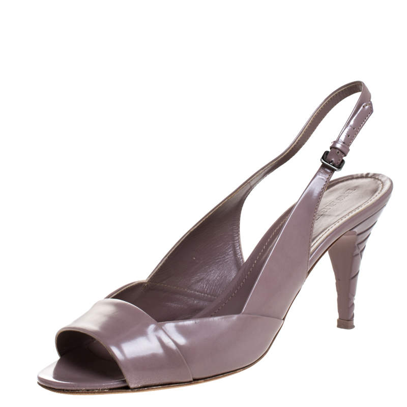Burberry Lilac Leather Open Toe Slingback Sandals Size 41