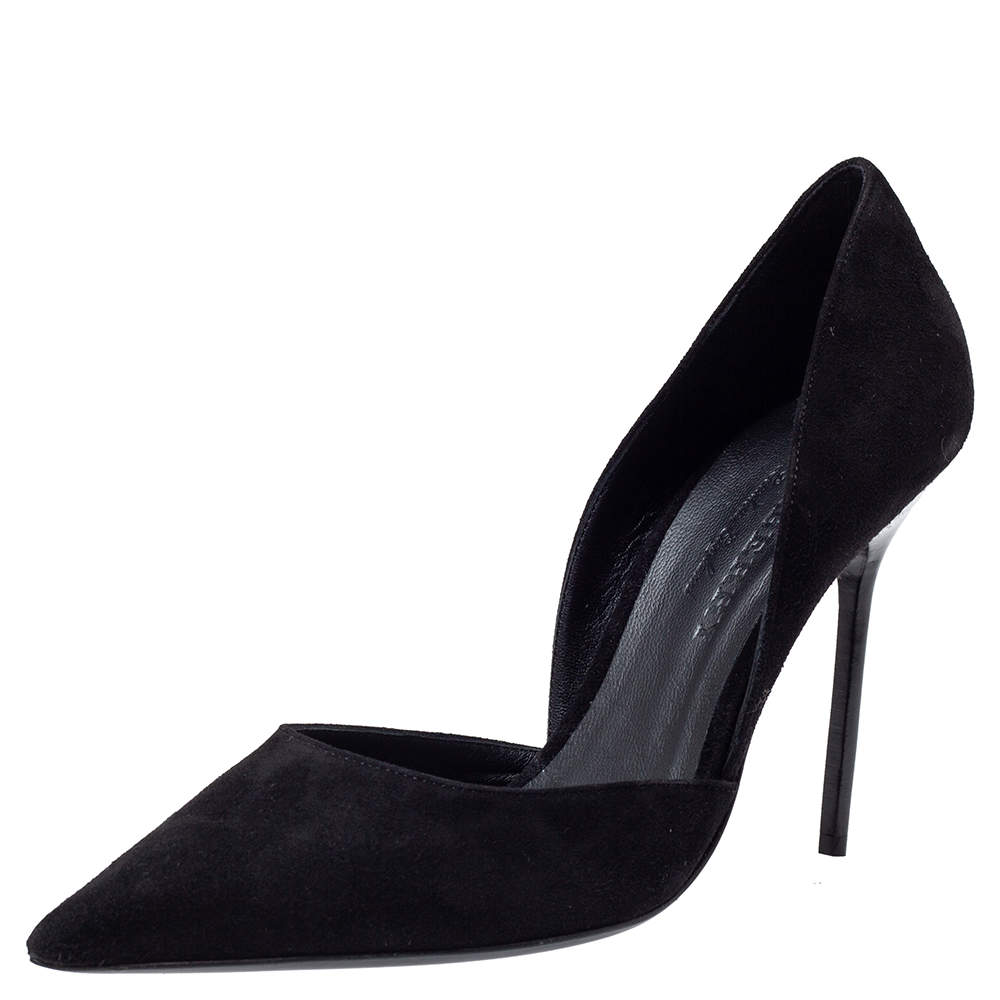 Burberry Black Suede Leather Virna D 'Orsay Pointed Toe Pumps Size 39