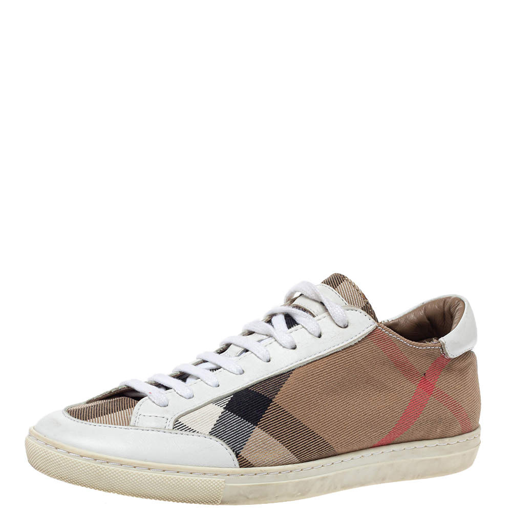 Burberry Brown Nova Check Canvas And White Leather Low Top Sneakers Size 36