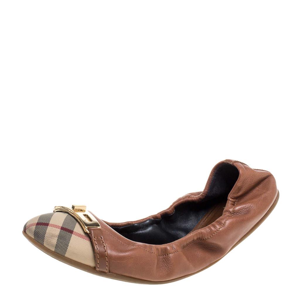 Burberry Brown Leather and Nova Check Canvas Drayton Twistlock Scrunch Ballet Flats Size 38